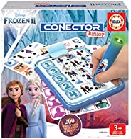 Educa 18543 Conector Junior Frozen II 问答游戏,包括带LED的智慧笔,适合 3 至 5 岁的儿童。