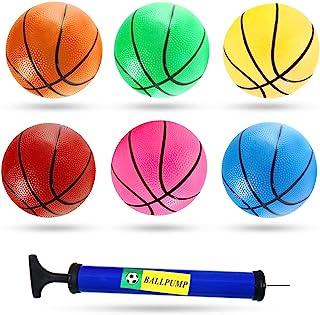 3 个 7.5 英寸迷你玩具篮球,6 个彩色玩具篮球迷你橡胶球,适合幼儿、青少年,带泵