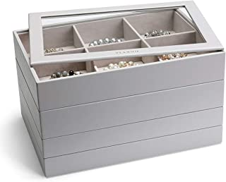 Vlando Miller 珠宝托盘可堆叠展示抽屉收纳柜,增韧玻璃盖多功能组合大容量多层设计和时尚(灰色)