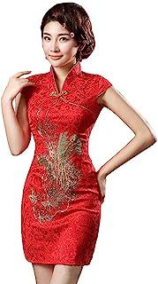 CosplayLife 红金色凤凰锦缎中国传统旗袍女装