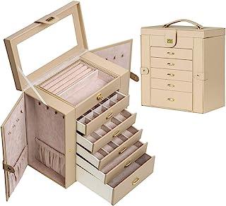 女式首饰盒收纳盒,大号功能性人造皮革首饰收纳盒,大号首饰收纳盒,送给女士的礼物(米色)