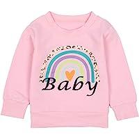 女婴运动衫 妈妈 女孩 彩虹 衬衫 休闲 长袖 套头上衣 秋冬装 棉质衣服