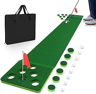 Luricaa Putting Green Game,高尔夫乒乓游戏推杆垫,室内推杆* - 包括 8 个高尔夫球,2 个高尔夫球杯和旗帜,1 个黑色储物袋 - *佳后院派对游戏