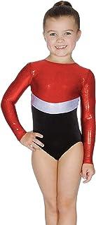 Roch Valley 长袖里约体操紧身连衣裤 年龄 5-6 码 红色/银色/黑色