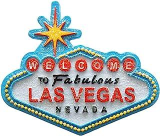 Welcome to Fabulous Las Vegas City Glitter 蓝色*磁性冰箱磁贴