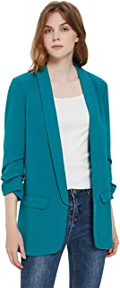 Charis Allure 女式 3/4 褶皱袖西装外套轻质工作办公室开襟纯色外套,*