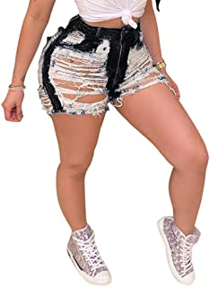 女式高腰破洞短款牛仔裤水洗做旧性感破洞牛仔短裤
