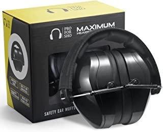 Pro For Sho 全地形*护耳 - 较大尺寸可折叠耳罩更轻,*大保护听力,黑色
