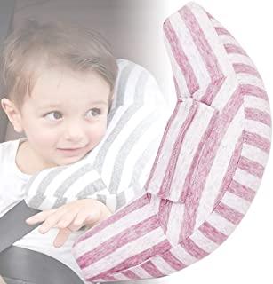 儿童*带枕头 Difon 软汽车*座椅头颈支撑幼儿旅行*垫*枕头棉肩垫带垫套婴儿儿童婴儿,1 包(粉色白色)
