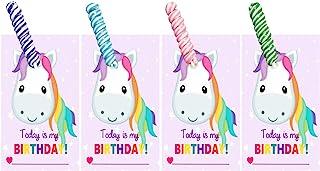 适合儿童和成年人的独角兽生日卡片和糖果 - Today is My Birthday - 派对礼物 Unicorn Horn Suckers 8 00120