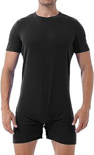 Yanarno 男式成人身体汗衫,圆领短袖,压裆 T 恤紧身衣裤