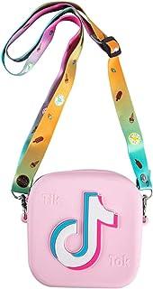 小女孩钱包迷你可爱公主 Tik tok 手提包单肩邮差包玩具礼品斜挎包钱包 粉红色 均码