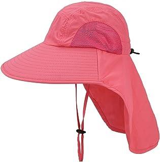 儿童遮阳帽带颈盖 - 中性可调节儿童宽帽檐夏季 UPF50+ *网眼桶适用于 4-12 岁