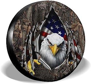 Fresquo 备用轮胎套,美国国旗老鹰通用轮胎套,适用于吉普拖车 RV SUV 卡车露营车旅行拖车配件(35.56、38、40、43.18 厘米)
