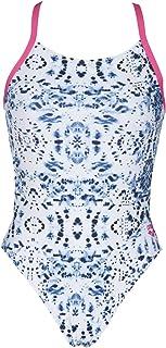 arena 女式扎染挑战MaxLife 细带露背连体泳衣 白色/弗里西亚玫瑰 30