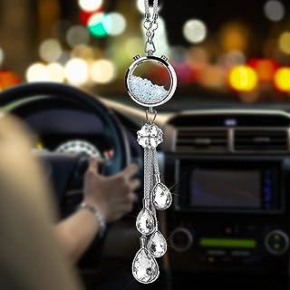 OTOSTAR 闪亮水晶球和滴子汽车悬挂配件,汽车后视镜吊坠吊坠,室内*装饰,闪亮汽车配件,适合女士女孩(玻璃水晶)