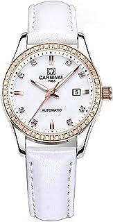 奢华水钻女式自动机械手表棕色或白色皮革表带防水手表