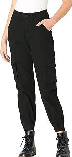 Allegra K 女式工装裤高腰休闲长裤带口袋