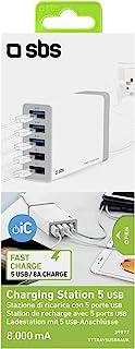 SBS USB充电器,带5个端口 - USB 多功能充电器,带智能充电控制 - 充电器适用于手机、智能手机、平板电脑、电子书阅读器、iPhone、iPad、三星、华为、Sony 索尼 - 充电站
