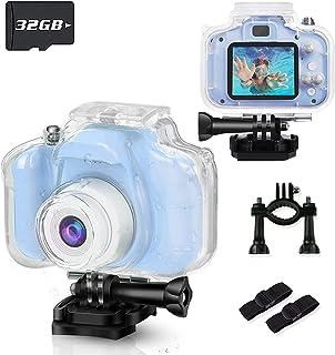 BKMLSR 儿童摄像机防水 1080P 高清 1200 万像素数字儿童动作相机幼儿摄像机带 32GB 卡适用于 3-12 岁女孩男孩圣诞节生日礼物 - 蓝色