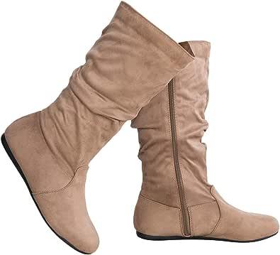 OLIVIA K 女式低跟中筒松软麂皮一脚蹬休闲靴带侧拉链