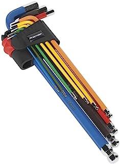 Sealey AK7191 9 件彩色编码超长球头六角钥匙套装 - 标准,银色