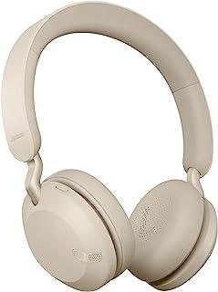 Jabra 捷波朗 Elite 45h 无线头戴式耳机 – 小巧可折叠耳机 电池寿命 50 小时 2 个麦克风呼叫技术 – 金色米色