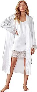 SOLY HUX 女式蕾丝花边缎面吊带连衣裙睡衣带腰带睡袍