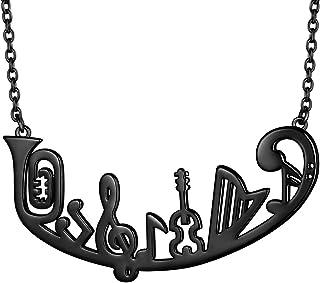 beautlace 音符项链 18K 金/银/黑色枪镀高音音符吊坠乐器首饰男女皆宜 KP0163