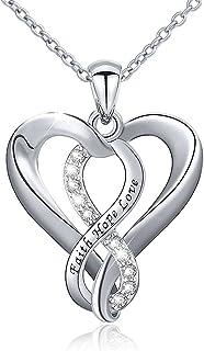 Faith 项链 925 纯银 Faith Hope Love Infinity 心形吊坠项链适合女士女孩,45.72 cm
