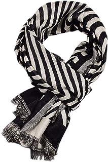 JINGJING & FAN 男式柔软保暖围巾时尚图案流苏围巾配饰棉质触感