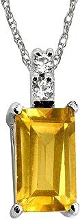 YoTreasure 0.58 克拉黄色黄水晶 925 纯银链吊坠