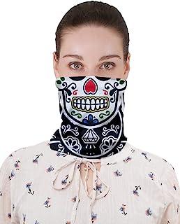 CowCow 成人狂歡口罩 Digtal 印花無縫面具頭巾適用于灰塵、節日、運動  Flowers Black & White One Size