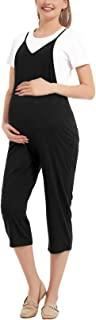 GINKANA 孕妇连身裤休闲七分裤可调节细肩带连体裤带口袋孕妇服装