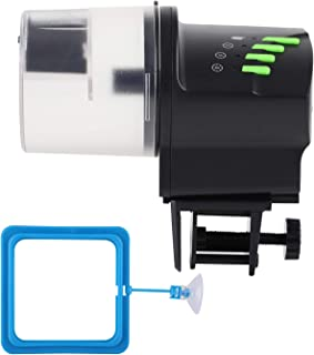 DXOPHIEX 自动鱼饲料器食品分配器水族箱罐定时器喂食器由电池和 USB 供电,用于鱼缸和爬行动物箱,带喂食环