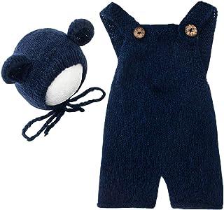 时尚新生儿男孩女孩婴儿照片拍摄道具服装钩针编织衣服马海毛帽连衫裤摄影道具