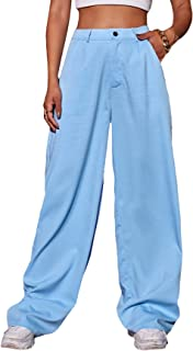 MakeMeChic 女式纯色纽扣高腰阔腿裤带口袋