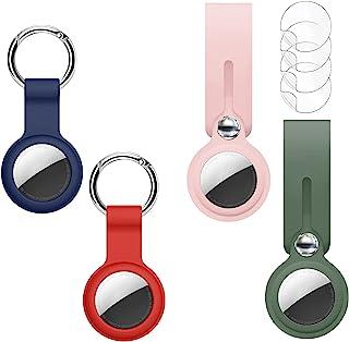 Airtag 支架兼容 Apple AirTag,4 件装带防丢失钥匙圈的Airtag保护套,硅胶防护空气标签钥匙扣保护套,适用于空气标签狗项圈,儿童,多色Airtag配件(粉色-红色)