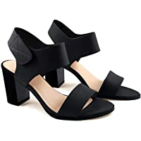 Soda RAVEL Women's Cut Out Perforated Chunky Heel Sandals