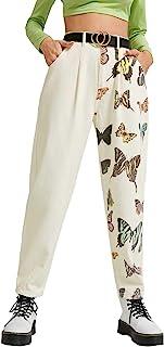 MakeMeChic 女式休闲锥形长裤带口袋