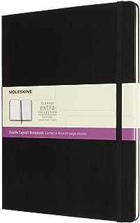Moleskine - 双层版笔记本电脑,空白和横线页,精装,规格 XL 19x25 厘米,颜色黑色