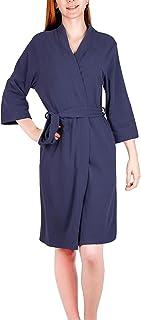 LUBOT 2021 新款女式和服长袍长睡衣浴袍七分袖柔软 Dralon 女式家居服