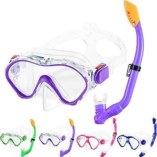 儿童*管套装干式上衣 *管面罩 带便携袋 发光水肺装备 青少年儿童浮潜装备 适合 5-13 岁男孩和女孩