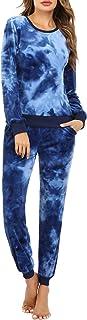 Hawiton 女式丝绒休闲运动服套装 2 件长袖休闲慢跑运动服套装 XS-XXL