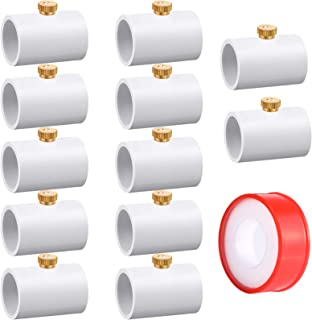 Honoson PVC 耦合分路器 1/2 英寸 PVC 分段耦合管接头带黄铜雾喷嘴和水管工胶带适用于户外冷却系统(12 件)