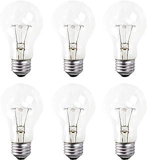 A19 透明白炽灯粗糙服务灯泡,60 瓦,2700K 软白色,E26 中号底座,560 流明,130 伏(6 件装)