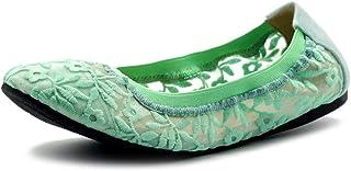 Ollio 女鞋花卉刺绣蕾丝一脚蹬舒适轻便芭蕾平底鞋
