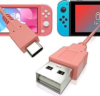快速充电电缆适用于 Nintendo Switch、MacBook、Pixel C、LG Nexus 5X G5、Nexus 6P/P9 Plus、One Plus 2、Sony XZ 等 - 珊瑚色(5 英尺)
