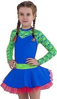 NOLA 女孩体操紧身连衣裤,长袖蓬松裙 - 舞蹈芭蕾套装非常适合表演