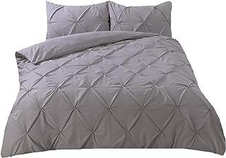 Highams 床上用品套装带褶皱,适合单人床,灰色